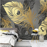 gold abstract feathers wall mural