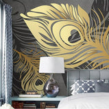 golden feathers abstract mural