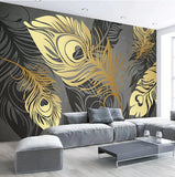 gold abstract feathers wallpaper