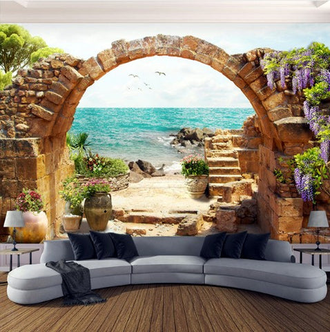 garden stone arches wallpaper