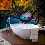 forest waterfall self-adhesive bathroom mural