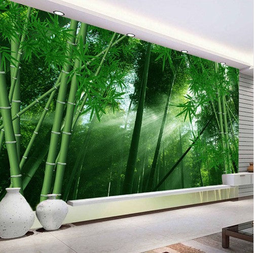 3d Bamboo Forest Sunlight Shining Through Trees Wallpaper