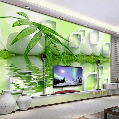 3d bamboo green leaf zen stones water creative design wallpaperbamboo zen stones wallpaper