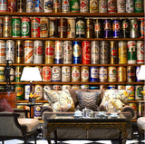 beer cans wall mural