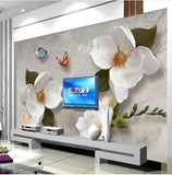 3d relief flowers wall mural