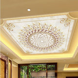 3D White and Gold Chandelier Pattern Ceiling Wall Mural Home or Business