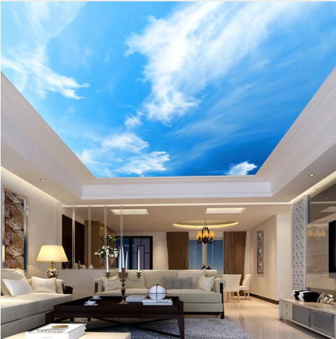 Modern 3d Blue Sky And White Clouds Ceiling Wallpaper Photo Mural