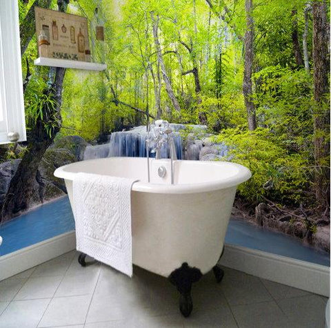 forest theme self-adhesive bathroom mural