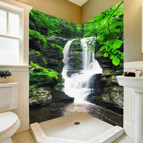 small waterfall forest self adhesive bathroom mural