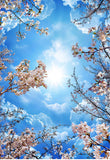 cherry blossom clouds ceiling wall mural