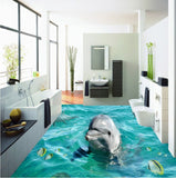 dolphin self-adhesive floor mural