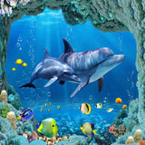 dolphins underwater sea fish floor wallpaper