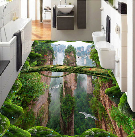 forest valley self-adhesive floor mural