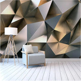silver geometric shapes wall mural
