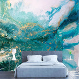 turquoise abstract ink splash mural