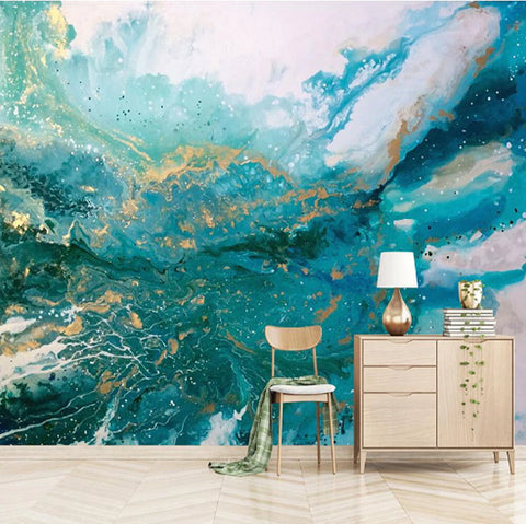 abstract blue ink splash mural