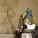 blue and green peacock pair wall mural