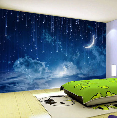 3d Night Sky With Falling Stars And Moon Wallpaper For Walls