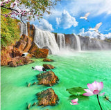 self-adhesive waterfall scene wallpaper