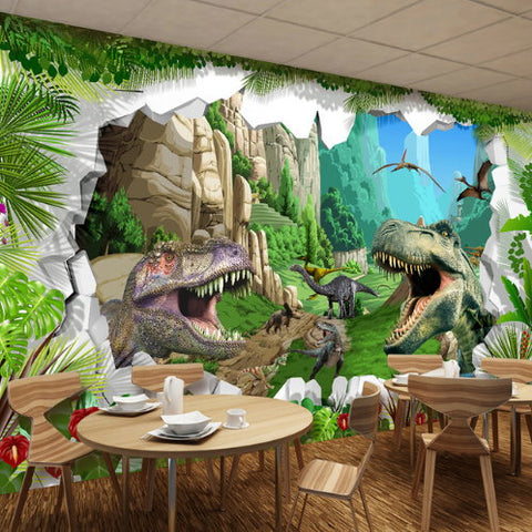 3D Cartoon Dinosaurs Broken Rocks Wall Mural for Home or Business