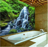 peel and stick green forest waterfall bathroom mural
