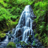 peel n stick green forest waterfall mural