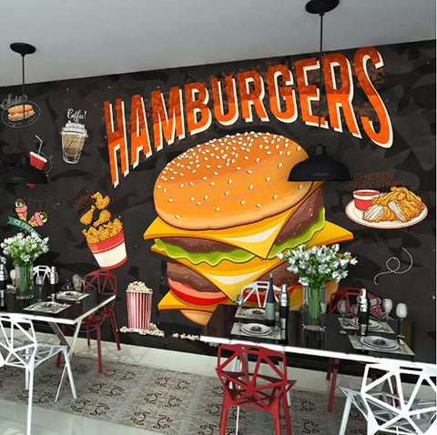 hamburger drawing fast food mural