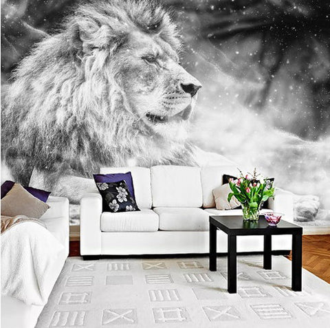 Black And White 3d Lion Theme Wallpaper Custom Photo Wall Mural