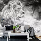 black white lion wall mural