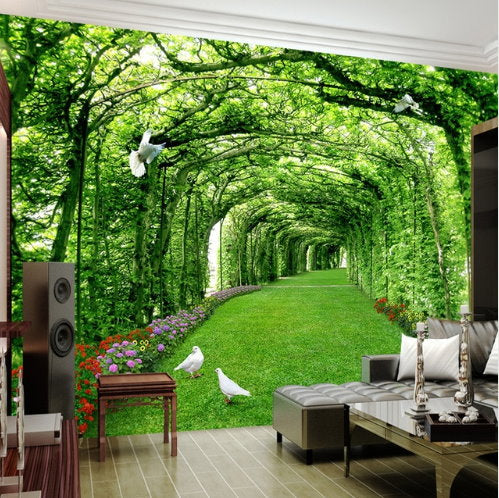 3d Green Forest Tree Arches Garden Path Wallpaper For Walls