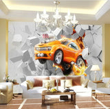 orange car wall mural