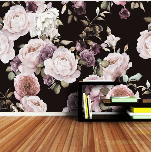 3d Photo Wallpaper Hand Painted Pink White Lilac Peony