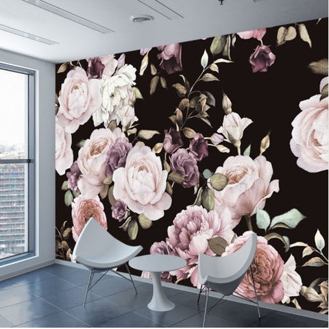 3D Photo Wallpaper Hand Painted Pink White Lilac Peony Flowers Mural