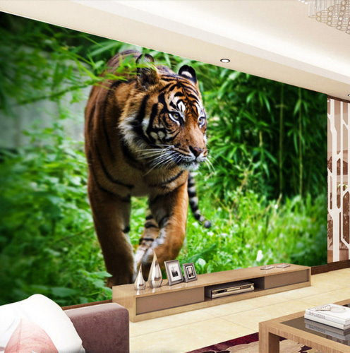 3D Large Orange Tiger In Jungle Wallpaper For Wall Animal