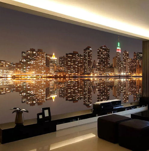 3d New York City Night Lights Wallpaper Mural For Home Or Business Beddingandbeyond Club