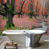 self-adhesive red maple forest bathroom mural