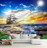 clipper ship wall mural
