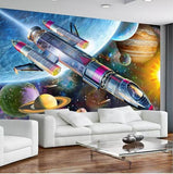 cartoon rocket planets wallpaper mural