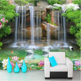 3d waterfall pool wallpaper