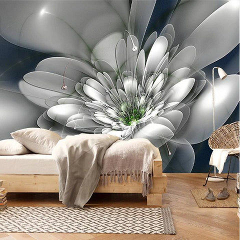 clear abstract flower wall mural