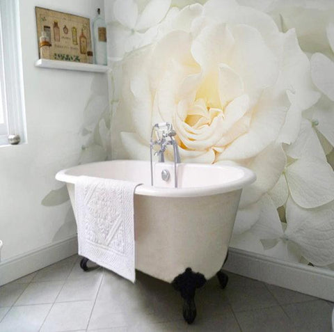 self-adhesive white rose bathroom mural