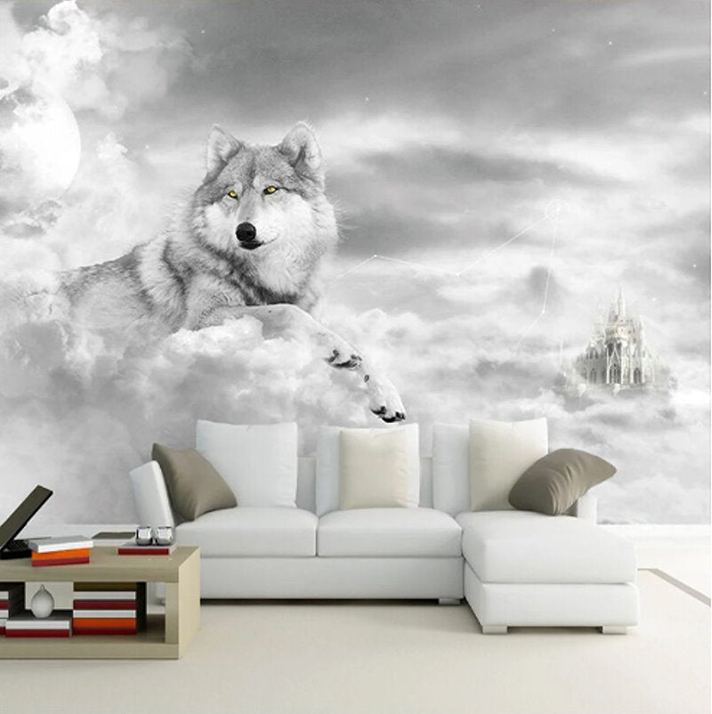 Hd Fantasy Wolf Clouds And Castle Design Wallpaper Animal Theme Mural Beddingandbeyond Club