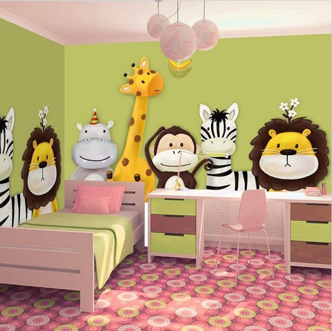 3d Cartoon Animals On Painted Background Wall Mural For Kids