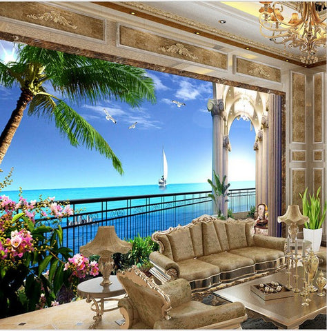3d window sea view wallpaper