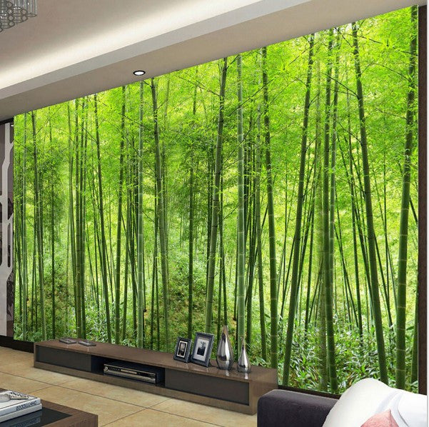 3D Customized Green Bamboo Forest Photo Wall Mural