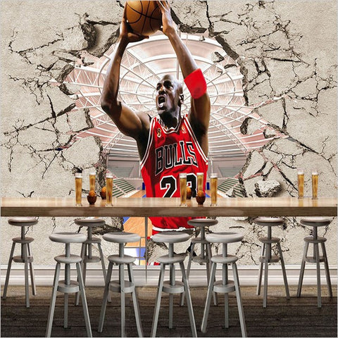 Nba jordan broken wall 3d photo wallpaper basketball star for Basketball mural wallpaper