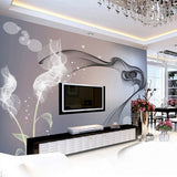 abstract black and white wall mural