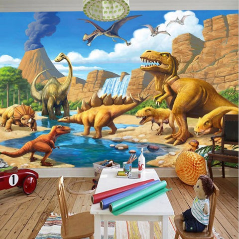 3D Cartoon Tyrannosaurus Dinosaurs Volcano Scene Wallpaper Wall