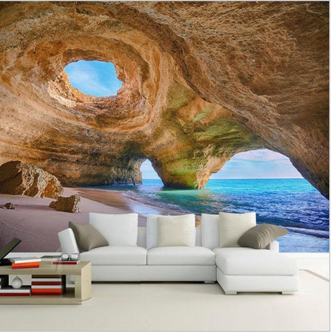 customized 3d mural beach reef cave wallpaper for living room bedroom. Black Bedroom Furniture Sets. Home Design Ideas