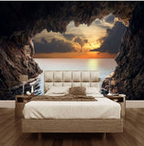 3d cave opening wall mural
